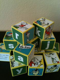 Make these for the playroom with wooden blocks, photocopies of favorite Dr Seuss book pages, and mod podge.