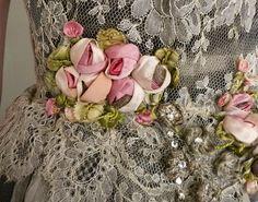Antique ribbon work roses
