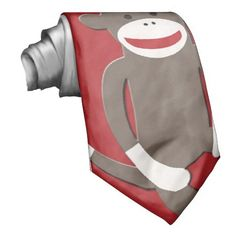 Red Sock Monkey Tie