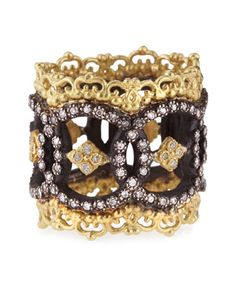 Midnight & 18k Yellow Gold Open Scalloped Ring with Diamonds by Armenta at Neiman Marcus.