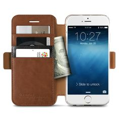 The Verus Leather iPhone 6 Wallet Case is made from vintage style two-tone PU leather with card pockets to conveniently store IDs and credit cards.