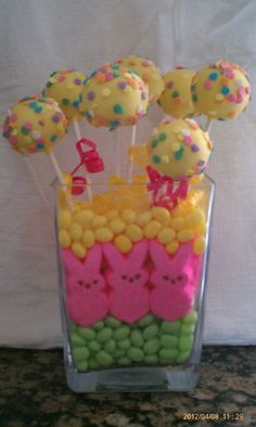 Easter cake pops centerpiece. Totally not going to make the cake pops but the jar filling is very cute!