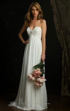 A Line Strapless Princess White Chiffon Long Prom Dress Sweetheart Empire Waist Wedding Dress Allure Beach Bridal Dress 922 on AliExpress.com. $112.00
