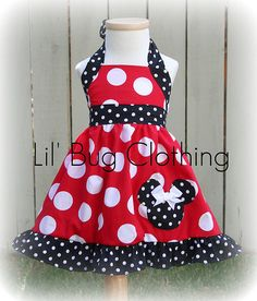 Custom Boutique Clothing Red White Dot Minnie Mouse Halter Dress Disney. $39.99, via Etsy.