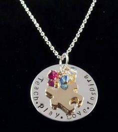 Custom Hand Stamped Silver Filled Gold Autism Necklace Autism Jewelry Teacher Gift Teachers Gift Mothers Necklace Free Shipping. $30.00, via Etsy.