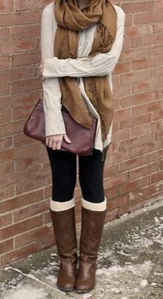 Brown scarf, cream sweater shirt, leggings with long boots #fall #fashion #outfit