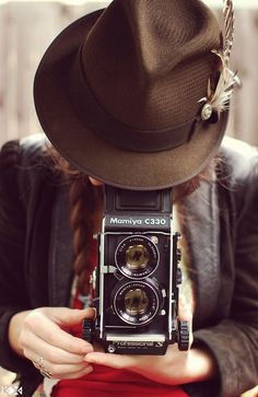 braids and hats twin, hats, vintage cameras, fedoras, old school, taking pictures, photography, photographi, old cameras