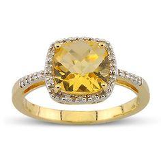 Checkerboard Cut Citrine Round Diamond Gemstone Ring In 14K Yellow Gold    $358.00