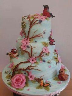 butterfli, flower cakes, cake decor, robins, flora cake