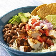 Mexican Chicken Bowl with Rice, Beans, and Queso Fresco