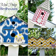 birdhouses, mod podg, idea, craft, outdoor, modg podg, diy, garden, bird hous