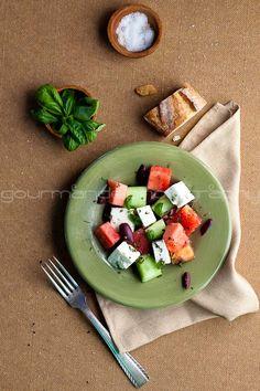 watermelon tomato cucumber and feta salad