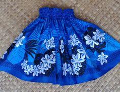 Bright blue hula pa'u hula skirt with black by SewMeHawaii on Etsy, $25.00