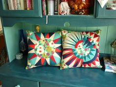 "New York Beauties make gorgeous cushion covers! Renee from Nellie's Niceties added some WOW to her home decor with these stunners!  "" It's not perfect but it'll do! I used #Aurifil 5006 which is a light teal colour and was just right for this job."""
