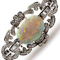 Opal & Diamond Brooch Pin
