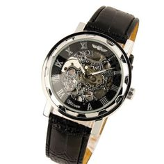 New Men's Black Dial Leather Band Strap Luxury Stainless Case Hand-Wind Up Mechanical Wrist Watch $27.99