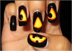 Glowing Jack-O-Lantern Halloween Nail Art Tutorial