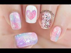 Easy Purple Camouflage Nails - YouTube Nails Nails, Elleandish Nails, Nails Design, Galaxies Nails Art, Art Tools, Galaxy Nails, Pink Galaxies, Nail Art, Nails Tutorials