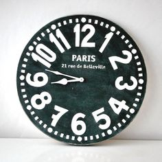 Wall clock -Paris- black shabby chic cottage style birch wood vintage style. €40.00, via Etsy.