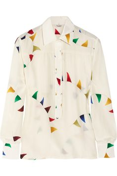 Sheer long sleeve with multicolored triangles