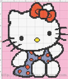 Free Printable Cross Stitch Patterns | ... free embroidery pattern of Hello Kitty useful to create a cross-stitch