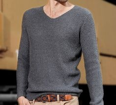 Men's Cable Knit V-Neck Sweater with Zig Zag Pattern