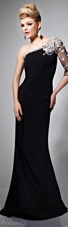 Tony Bowls Black Embellished Evening Gown