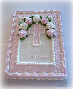 Pink & White Cross Sheetcake... white cross, bibl cake, sheet cake, decor cake, cross cake