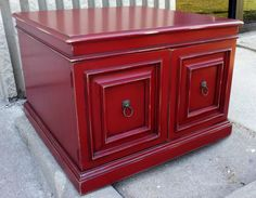 Large End table in distressed Chili Pepper Red, with Black Glaze accenting detailed areas.  From Facelift Furniture's End Table Collection.