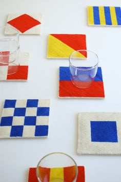 Nautical needlepoint coasters -- aren't these fun? A portable project perfect to take along on summer trips, too. From Laura's Loop at The Purl Bee.