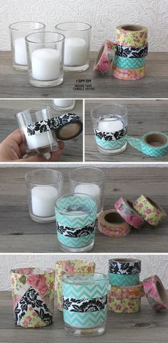 """votives decorated with scrapbook paper or """"washi tape"""" - aka """"colored masking tape that you paid too much for because it is trendy"""""""