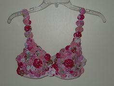 Cute bra made for raising money for breast cancer in conjunction with an annual Quilt Walk  and auction.  It is the Artful Bra Challange.  The bras are autioned with proceeds to go to providing free mammograms in a local area.
