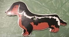 Dachshund Christmas Tree Ornament Ceramic Black and Brown Doxie