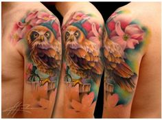 Soft colorful owl floral tattoo by NICK CHABOYA