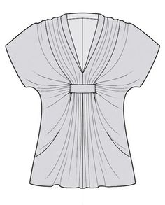 Use oversize t shirt. Cut into v neck. Use small strip to gather extra fabric in the middle through two slits.