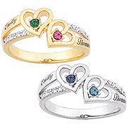 Sterling Silver or 14kt Gold over Sterling Couples Heart Birthstone and Name Diamond Ring aww promise rings