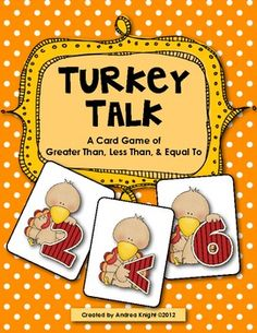Turkey Talk Card Game {Greater Than, Less Than, Equal To}  $3.00