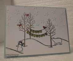 White Christmas by Deborah Smart, B.C., Canada, I embossed the top 1/2 of the Whisper White panel using the new Lucky Stars embossing folder. I coloured the images using our wonderful Blendabilities markers.