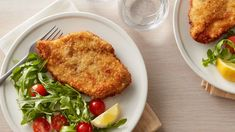 Chicken Schnitzel with Arugula and Tomato Salad (Cooking for 2) Recipe - BettyCrocker.com