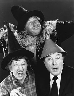Publicity photo of Ray Bolger (Scarecrow), Margaret Hamilton (Wicked Witch of the West) and Jack Haley (Tin Woodman) reunited, 1970