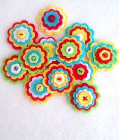 x3 Handmade Layered Felt Flower RIO Button Embellishments Brooche Summer Tropical Bright Colours