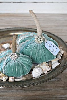 Okay, so ill probably never have the chance to decorate a beach house in fall but... this is awesome... could do in a fall color, I suppose! Velvet Pumpkins Coastal Beach Fall Decor