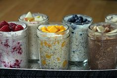 Refrigerator Oatmeal.  No cook, overnight.  Full of oats, berries, chia seeds, and milk.  Gives you tons of energy!