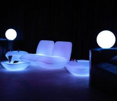 Glowing outdoor patio furniture