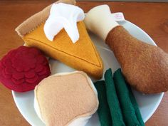 Felt Food Thanksgiving Dinner Eco Friendly Pretend Play Food Set for Childrens Toy Kitchen - Turkey, Potatoes, Cranberry, Beans, Pumpkin Pie. $28.00, via Etsy.