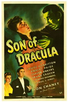 Son Of Dracula, 1942, starring Lon Chaney as Count Dracula. #vintage #1940s #movies #posters