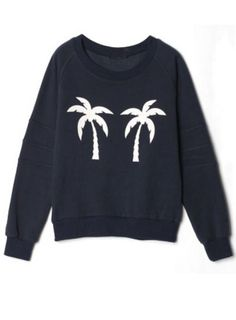 Blue Long Sleeve Coconut Trees Print Sweatshirt