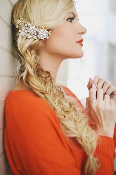 braid hair clips, long hairstyles, hair pieces, wedding hairs, braid hairstyles, fishtail braids, hair accessories, barefoot blond, style tips