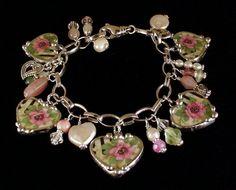 Wild roses heart charm bracelet