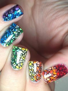 Rainbow Stained Glass - nail design , #nailart